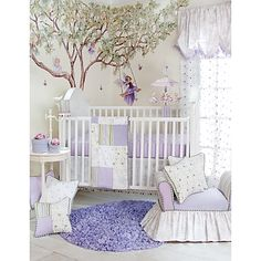The Glenna Jean Penelope 3-Piece Crib Bedding Set combines a tailored design with lavender rosebud embroidery, mint leaves, purple checks and elegant toile. The set includes a patchwork quilt, crib sheet, and crib skirt with pom-pom trim.