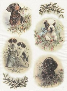 Napkin and decoupage shop Vintage Paper Crafts, Papel Vintage, Decoupage Vintage, Decoupage Printables, Christmas Decoupage, Xmas Cross Stitch, Christmas Puppy, Free To Use Images, Vintage Dog