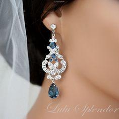 Rhinestone Bridal Earrings Swarovski Crystal Chandelier Wedding Earrings Montana Blue Sapphire Wedding Jewelry FRANCES MID