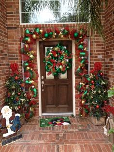 Deco mesh garland for the front door