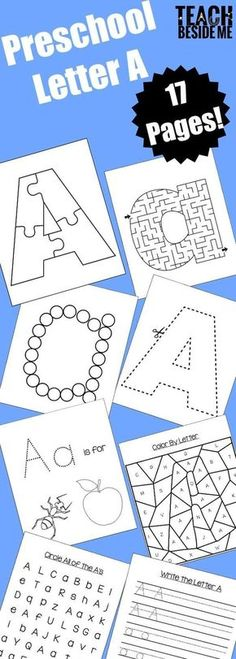 Preschool Letter A Printable Activities- 17 Pages! via Karyn @ Teach Beside Me Preschool Letter A Printable Activities- 17 Pages! Preschool Letter B, Letter B Activities, Preschool Curriculum Free, Free Preschool, Preschool Printables, Preschool Worksheets, Preschool Learning, Preschool Activities, Alphabet Crafts