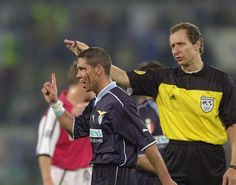 Diego Simeone (SS Lazio, 1999–2003, 90 apps, 15 goals). Bloody Simeone sports a cut during a Champions League game with Arsenal.