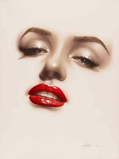 Marilyn- love the lips 💋 Marilyn Monroe Kunst, Marilyn Monroe Artwork, Marilyn Monroe Photoshoot, Pin Up, Norma Jeane, Red Lips, Old Hollywood, Halloween Face Makeup, Glamour