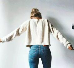 Fall/winter outfit idea, white knit sweater with jeans. Comfy and cozy outfits. Mode Outfits, Fall Outfits, Casual Outfits, Girly Outfits, Looks Pinterest, Mode Ootd, Looks Jeans, Paris Mode, Moda Casual