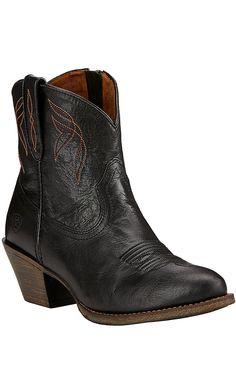 Ariat Darlin Women's Old Black Almond Toe 7in Western Boots   Cavender's