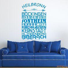 "Wandtattoo ""Stadtviertel Heilbronn"" - ab 19,95 €   Xaydo Folientechnik"