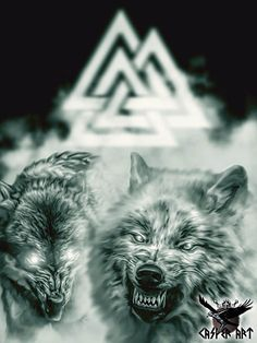 Odin's wolves Geri and Freki by thecasperart on DeviantArt