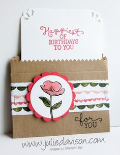 Stampin' Up! Birthday Blooms gift card holder 2016 Occasions Catalog Sneak Peek #stampinup www.juliedavison.com