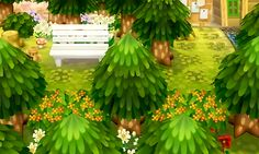 Bench in a city in autumn period consisting of cedar, bush, . Animal Games, My Animal, Ac New Leaf, Animal Crossing Game, Aesthetic Design, Funny Animals, Plant Leaves, Witch, Scenery
