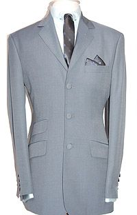 Adam of London - Tonik Suit - Sky & Silver - Wool, Polyester & Kid Mohair Blend