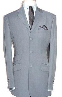 Adam of London - Tonik Suit - Sky & Silver - Wool, Polyester & Kid Mohair Blend