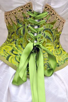 Green Silk Underbust Corset Victorian Clothing by LaBelleFairy