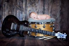 Newborn photography with a guitar and drum. | Kourtney Hand Photography