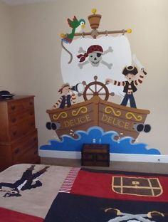 These adventurous buccaneers are sailing the high seas in this wall mural. These adventurous buccaneers are sailing the high seas in this wall mural. The colors were changed a bit to match the pirate bedding. Pirate Bedroom Decor, Pirate Bedding, Pirate Birthday, Pirate Theme, Mural Wall Art, Deco Table, Classroom Decor, Classroom Bathroom, Kids Decor