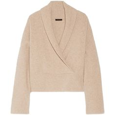 The Row Fontaine wrap-effect brushed cashmere-blend sweater (£1,530) ❤ liked on Polyvore featuring tops, sweaters, beige top, the row sweater, wrap sweater, oversized sweater and beige sweater