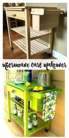 Microwave Cart Makeover to Bar Cart with Modern Masters Metallic Paint... - 2 Bees in a Pod