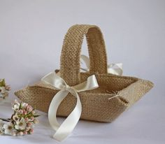 Pear blossom branch + my Little burlap flower girl basket Khaki / natural jute. Burlap Crafts, Fabric Crafts, Diy And Crafts, Burlap Lace, Burlap Flowers, Hessian, Tiny Flowers, Dried Flowers, Flower Girl Basket