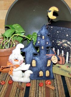 Primitive Halloween Ghost Haunted House by PrimitivelyPrecious, $11.95