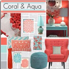 """""""Coral & Aqua- Giselle wants this for her room My New Room, My Room, Girl Room, Girls Bedroom, Bedroom Ideas, Teen Bedrooms, Bedroom Designs, Diy Bedroom, Deco Turquoise"""