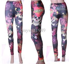 Fashion women's Leggings skull pattern