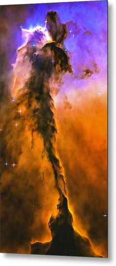 Space Image Metal Print for sale. Appearing like a winged fairy-tale creature poised on a pedestal, this object is actually a billowing tower of cold gas and dust rising from a stellar nursery called the Eagle Nebula. The image gets printed directly onto a sheet of aluminum. Metal prints are extremely durable and lightweight. Credit  NASA, ESA, and The Hubble Heritage Team STScI/AURA Edit Matthias Hauser - Art for your Home Decor and Interior Design.
