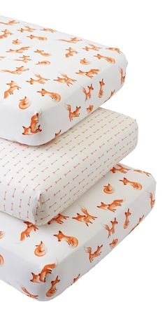 Shop Fox Crib Fitted Sheets (Set of 3). Our Fox Crib Fitted Sheets set includes three coordinated crib sheets that are as comfy as they come. The set features two sheets with playful fox prints and one sheet with an orange arrow print.