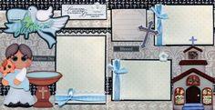 BAPTISM-BABY-BOY-2-premade-scrapbook-pages-paper-piecing-layout-4-album-CHERRY