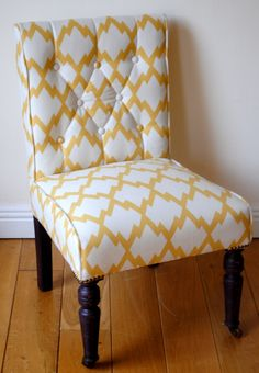Chevron Print Upholstered Chair Mission Chair, Upholstered Chairs, Chevron, Accent Chairs, Sewing, Furniture, Home Decor, Dressmaking, Decoration Home