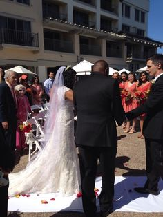 Being given away by my Dad. Monterey plaza hotel 8/30/2014 Maggie sottero Bernadette dress.