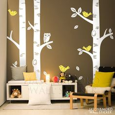 Large Owl Birds Birch Tree Wall Decal Sticker Baby Room Nursery Bedroom Home Mural Wallpaper Decoration 250*250CM Christmas 2015
