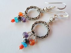 Braided Sterling Silver Hoops with Colorful Gem Earrings – Beth Lerner Jewelry http://bethlernerjewelry.com/collections/frontpage/products/braided-sterling-silver-hoops-with-colorful-gem-earrings