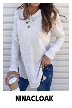 # Pullovers # Flannel # Winter / Spring / Fall # Long Sleeve # Leisure / Daily # Casual # Funnel Neck # Loose # Off Shoulder T Shirt, Plain Shirts, Culottes, Types Of Sleeves, Long Sleeve Tops, Fashion Looks, Women's Fashion, T Shirts For Women, Pure Products