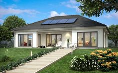 Bungalow Haus SH 146 B mit Walmdach - ScanHaus Marlow | HausbauDirekt Modern Bungalow Exterior, Modern Bungalow House, House Floor Design, Small House Design, 4 Bedroom House Designs, Town Country Haus, House Plans South Africa, Living Haus, House Design Pictures