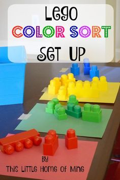 Lego Color Sort - Sorting Activity by This Little Home of MineYou can find Toddler activities and more on our website.Lego Color Sort - Sorting Activity by This Little H. Preschool Learning Activities, Sorting Activities, Preschool At Home, Infant Activities, Toddler Preschool, Toddler Classroom, Activities For 2 Year Olds Daycare, Sorting Kindergarten, Lego Sorting