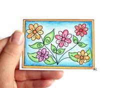 Original colorful ACEO Colored Pencil Drawing Pretty by JoArtyJo, $12.00
