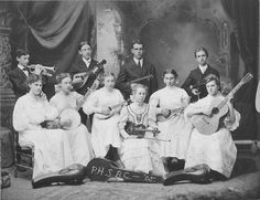 Rock Legends? Musical graduates - a group of young students. Photographed in Portville, NY, 1905.