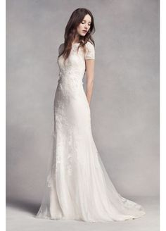 Also if i get married lol White by Vera Wang Short Sleeve Lace Wedding Dress VW351312