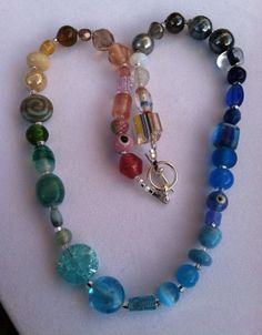 Mixed Glass Rainbow Necklace with Turquoise by TripIntoLight, $15.00