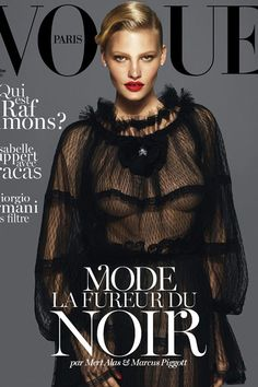 Kate Moss, Lara Stone & Daria Werbowy cover Vogue Paris. Magazine refreshes.  Written by Daniel P Dykes.        The coming winter 2012 fashion season is dominated by two women's looks: masculinity and the new noir (or the new gothic, if you will). While it was the former that dominated the catwalks, it's the appeal of the latter that dominates old media and the pictorials they create.