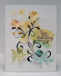 Daffodil Delight, Peach Parfait, Lucky Limeade, and Pool Party ink, Basic Black ink, Pool Party & Whisper White cs, Fabulous Flourishes stamp set, bitty & elegant butterfly punches, sequins
