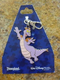 Disney World Parks Epcot Figment Lanyard Keychain Medal 2011 # 86477 Disneyland
