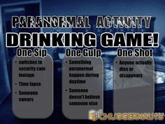 This drinking game will scare the pants off you. It's the Paranormal Activity Drinking Game!
