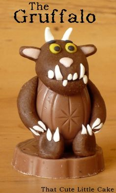 using a cadbury's cream egg as the belly of the gruffalo and marzipan as his arms!