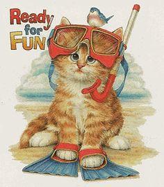 Nature Animal Cat Kitten Kitty in scuba gear Ready for Fun beach shirt t-shirt