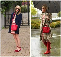 reds and blues and a fun rain look