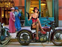 Official Website of Fine Artist David Uhl. Collections include motorcycle art, aviation art, automotive art, pin-up art. Pin Up Vintage, Vintage Biker, Vintage Photos, Harley Davidson Art, Harley Davidson Motorcycles, Vintage Motorcycles, Motorcycle Art, Bike Art, Motorcycle Posters