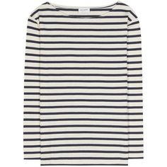Saint Laurent Distressed Striped Cotton T-Shirt (€530) ❤ liked on Polyvore featuring tops, t-shirts, white, cotton t shirts, distressed white tee, white top, white cotton t shirts and cotton tee