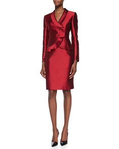 Tahari Ruffle-Front Skirt Suit, Red