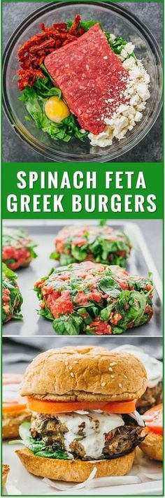 Ingredients For burger patties: 1 pound ground beef 5 ounces fresh baby spinach leaves chopped 2 ounces crumbled feta cheese 1/3...