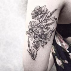 Romantic blackwork wildflowers by Sandra Cunha